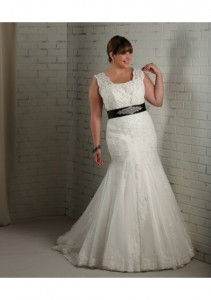 tulle-v-neckline-delicate-beaded-bow-waistband-trumpet-style-with-draped-skirt-2012-plus-size-wedding-dress-wp-0076